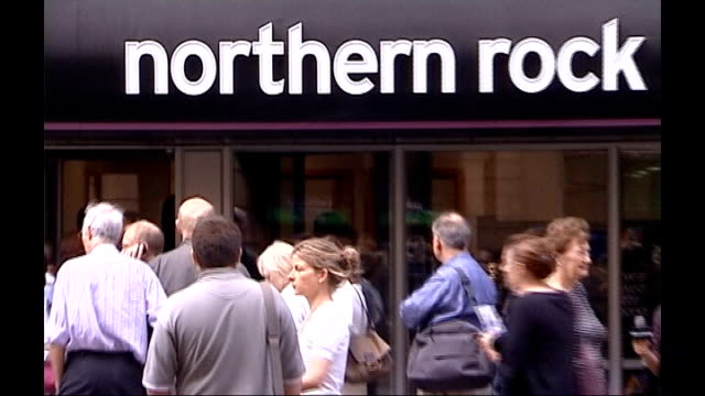 plan to convert government loans to bonds september 2007 queues of people outside northern rock banks - 2007 stock videos & royalty-free footage