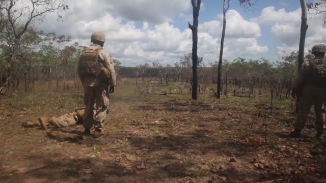 AREA Northern Territory Australia – Marines with1st Battalion 5th Marine Regiment Marine Rotational Force – Darwin perform a livefire range...