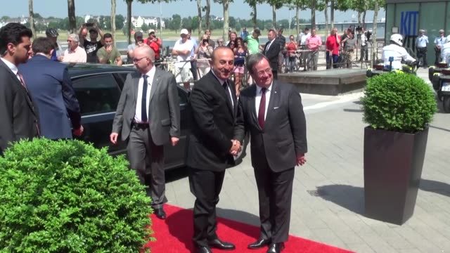 northrhine westphalia nrw prime minister armin laschet welcomes turkish foreign minister mevlut cavusoglu in dusseldorf germany on may 29 2018... - 25 29 years stock videos and b-roll footage