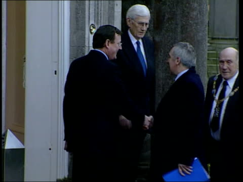 northsouth ministerial council meeting northern ireland armagh ext helicopter bringing irish prime minister bertie ahern for meeting of northsouth... - bertie ahern stock videos and b-roll footage