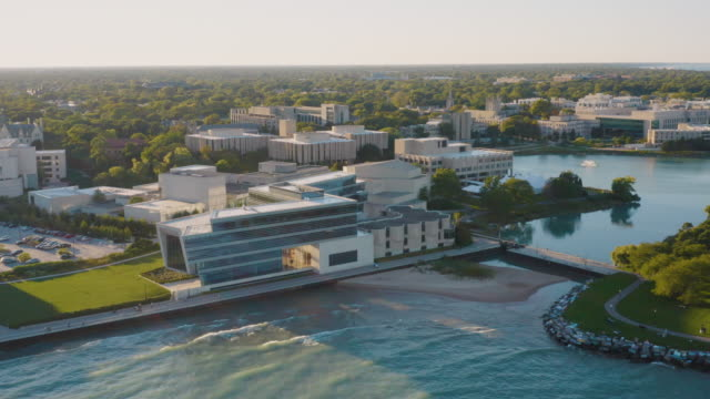northwestern university campus aerial footage - chicago illinois stock videos & royalty-free footage