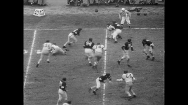 northwestern wildcats coached by bob voight and the california golden bears coached by pappy waldorf play the rose bowl to a packed stadium / looking... - 1949 stock videos & royalty-free footage