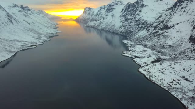 norway ersfjord in tromso aerial view over the bay and pier - panoramica video stock e b–roll