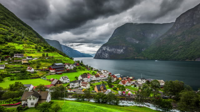 norway fjord landscape - time lapse - small town stock videos & royalty-free footage