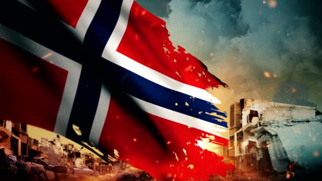 4k norwegen flagge - krise / krieg / feuer (loop) - zweiter weltkrieg stock-videos und b-roll-filmmaterial