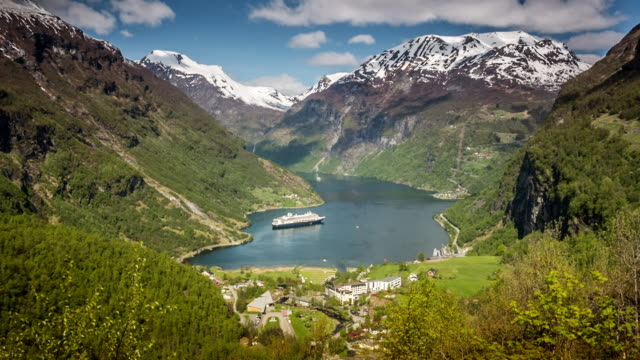 Norway, Geiranger, Geiranger fjord. Unesco World Heritage site. Aerial view on village and cruise ship MS Rotterdam of Holland-America line