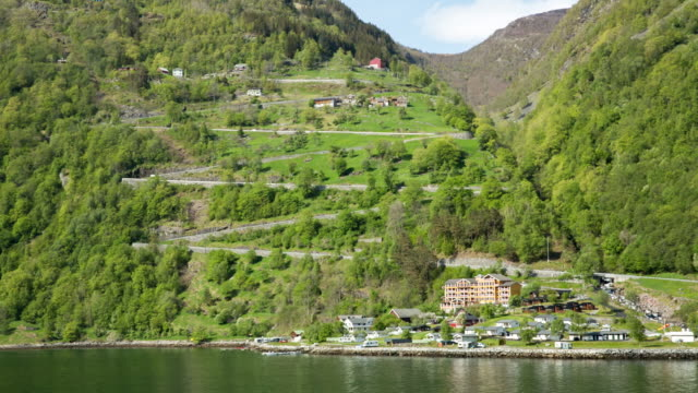 Norway, Geiranger, Geiranger fjord. Unesco World Heritage site. View on Eagle Road with 11 hairpin bends.