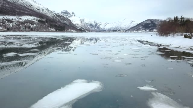 norway islands and rock formations bay in northern norway - panoramica video stock e b–roll