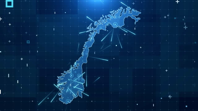 norway map connections full details background 4k - map stock videos and b-roll footage