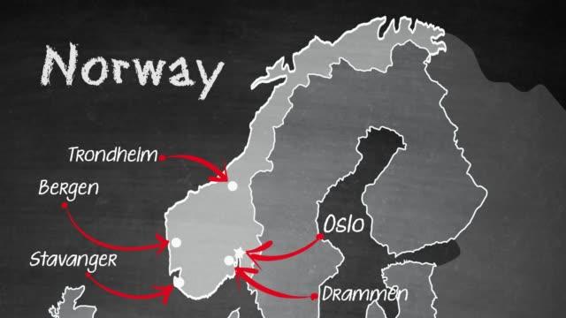 vídeos de stock e filmes b-roll de norway map - noruega