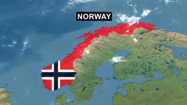 norway map with norwegian flag, zoom in to norway terrain map from wide perspective view - national landmark stock videos & royalty-free footage