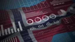 Norway. Statistics, infographics, financial market data, analysis and reports on Norwegian waving flag 4K.
