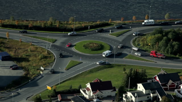 Norway. Tromse - Above view of the Roundabout Car