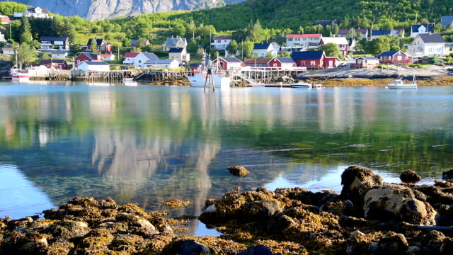 norway , view of lofoten islands in norway with sunset scenic - fishing village stock videos and b-roll footage
