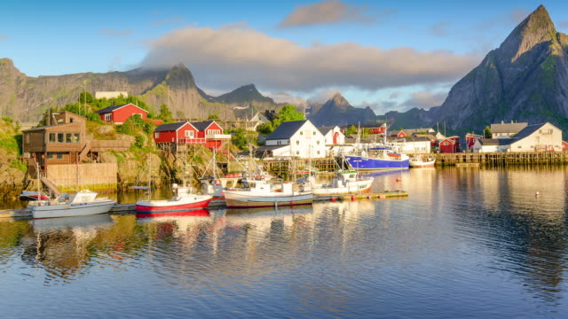 norway , view of lofoten islands in norway with sunset scenic - traditionally norwegian stock videos & royalty-free footage