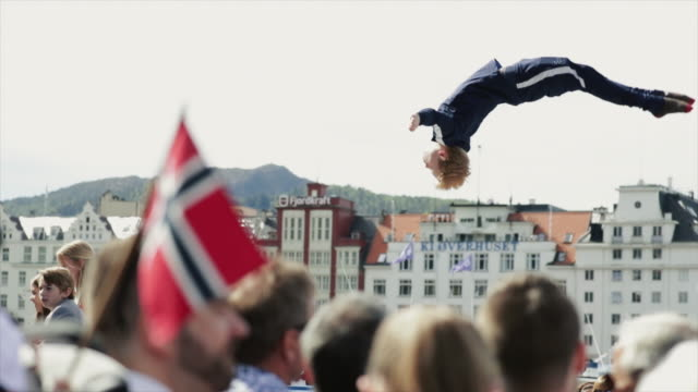 norwegian constitution day is the national day of norway nasjonaldagen syttende mai it is between the most important public holiday of the country... - pedana elastica per saltare video stock e b–roll