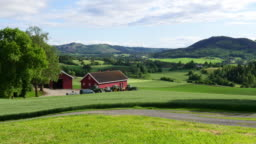 Norwegian countryside village landscape with green farm view