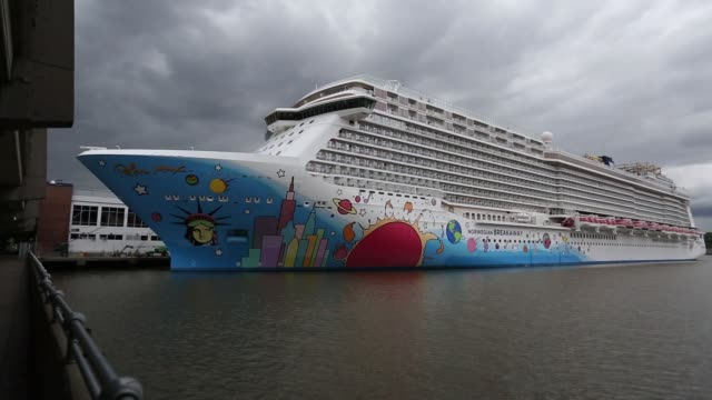 Norwegian Cruise Line Holdings Ltd's Norwegian Breakaway cruise ship is moored at the Manhattan Cruise Terminal in New York US on Sunday May 7 2017...
