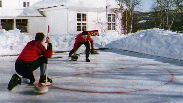 Norwegian enthusiasts enjoy the winter sport of curling.
