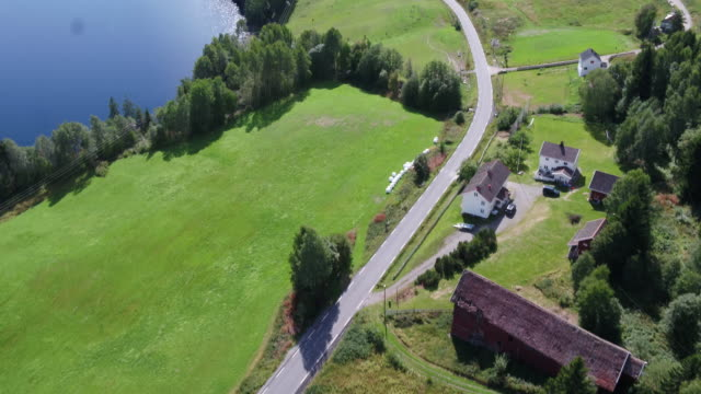 norwegian farm land with fjord in background - farm stock videos & royalty-free footage