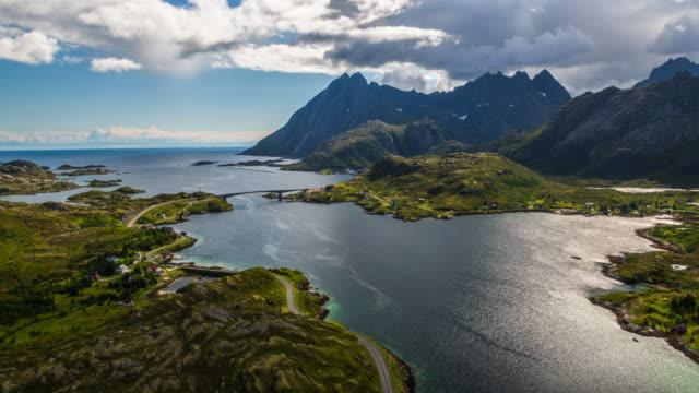 AERIAL: Norwegian fjord landscape at the Lofoten Islands