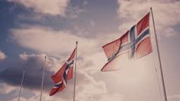 Norwegian flag on a blue sky