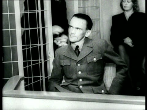 norwegian members of the nsb and gestapo are brought to trial. most important suspect is henry rinnan, leader of the gestapo in norway - ゲシュタポ点の映像素材/bロール