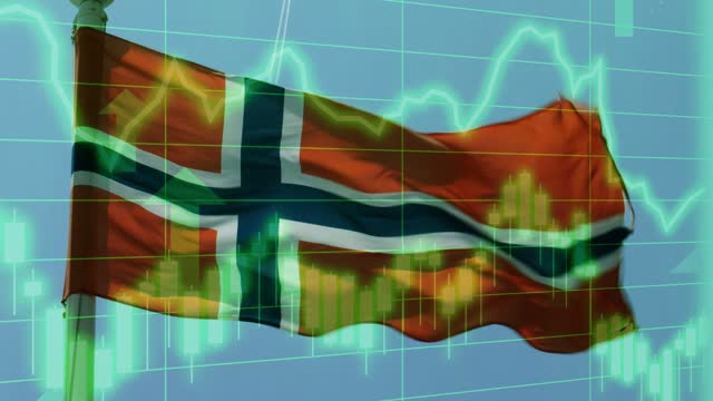 norwegian national flag with positive growth chart and graph data. concept piece to indicate improving gdp, stock market crash, recession, depression, inflation, deflation, bull market, good national, economic and business performance - bull market stock videos & royalty-free footage