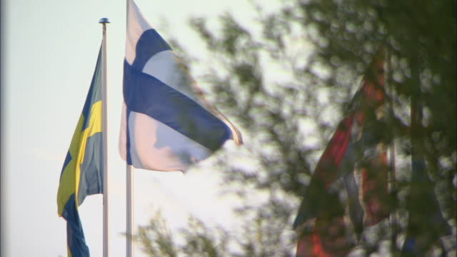 cu norwegian, swedish and finnish flag blowing in wind / copenhagen, denmark - swedish flag stock videos and b-roll footage