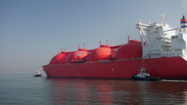 Norwegian tanker transporting Natural Liquid Gas ( LNG ), Port of Rotterdam, Netherlands