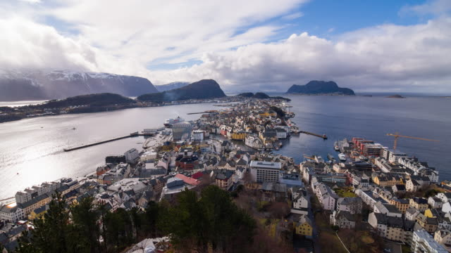 Norwegian town Alesund by the coast