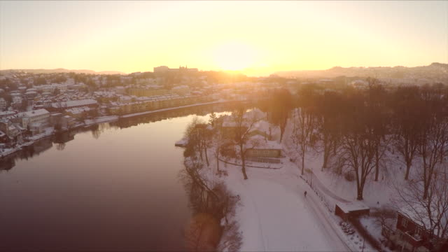 Norwegian township in the winter