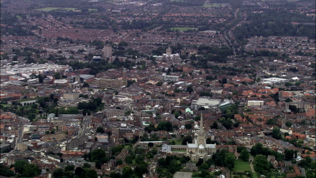 norwich cathedral  - aerial view - england, norfolk, norwich district, united kingdom - general view stock videos & royalty-free footage