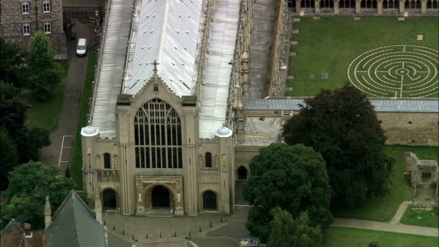 norwich cathedral  - aerial view - england, norfolk, norwich district, united kingdom - cathedral stock videos & royalty-free footage