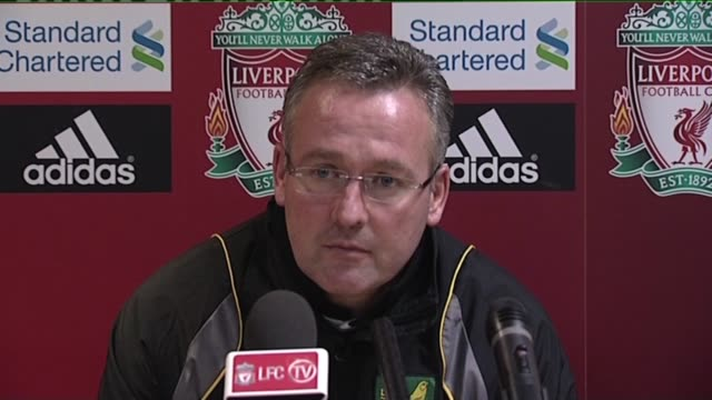 norwich manager paul lambert gives his assessment of the 1 1 draw against liverpool at anfield on october 23 2011 in liverpool england - norwich england bildbanksvideor och videomaterial från bakom kulisserna