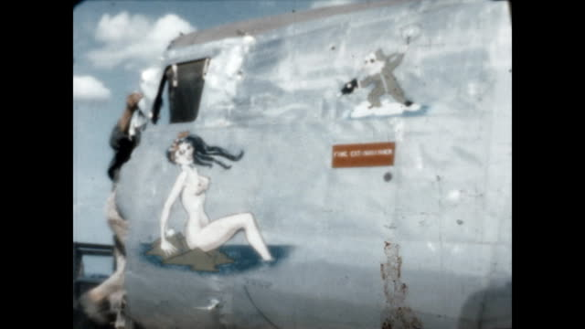 nose art on various aircraft at clark air field in wwii. - 1946 stock videos & royalty-free footage