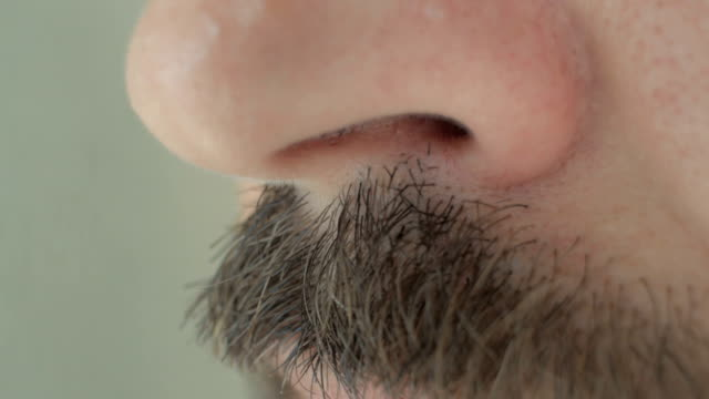 nose of a man with mustache - human nose stock videos & royalty-free footage