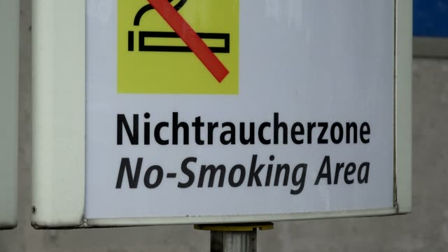 no-smoking sign at underground station reichstag, berlin, germany, europe - no smoking sign stock videos & royalty-free footage