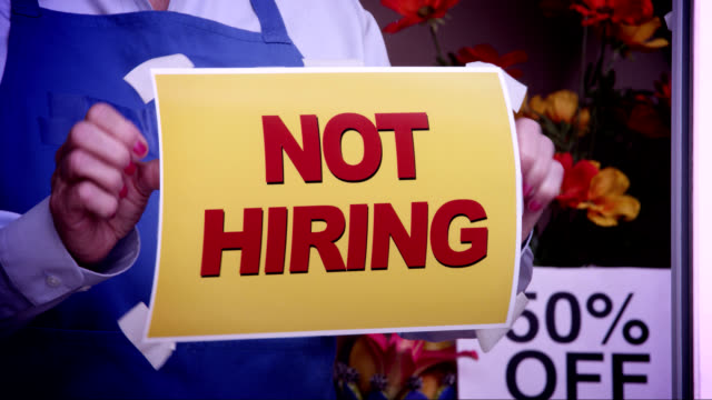 not hiring window sign - unemployment stock videos and b-roll footage