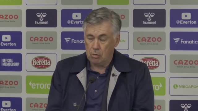 """** note audio issues as provided ** carlo ancelotti said dominic calvertlewis is """"on fire"""" after the striker hit his second hattrick of the season to... - netting stock videos & royalty-free footage"""