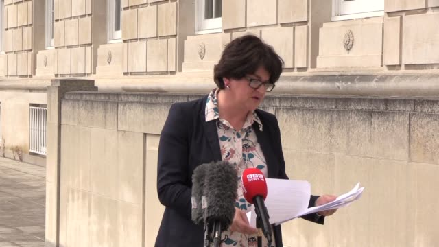 stockvideo's en b-roll-footage met note - best audio available northern ireland's first minister arlene foster announced that face coverings would become mandatory in shops and... - audio available