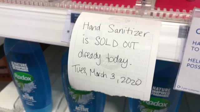 note on shelf in pharmacy saying hand sanitizer has sold out in connection with coronavirus coventry - warwickshire stock videos & royalty-free footage