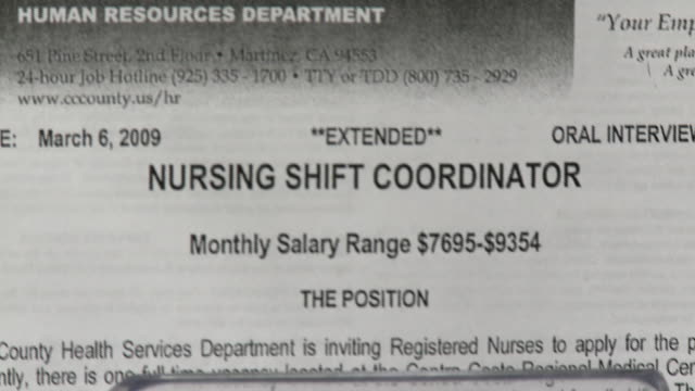 vídeos de stock, filmes e b-roll de notice advertising nursing job position/ antioch california usa/ audio - classified ad