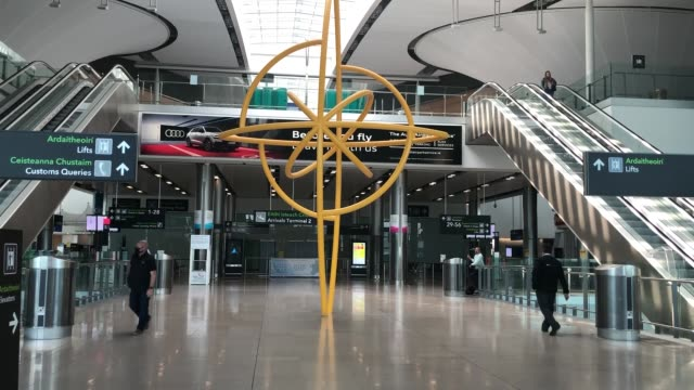 notice for arriving passengers regarding the covid-19 passenger locator form at terminal 2 in dublin airport as a requirement for people arriving in... - authority stock videos & royalty-free footage
