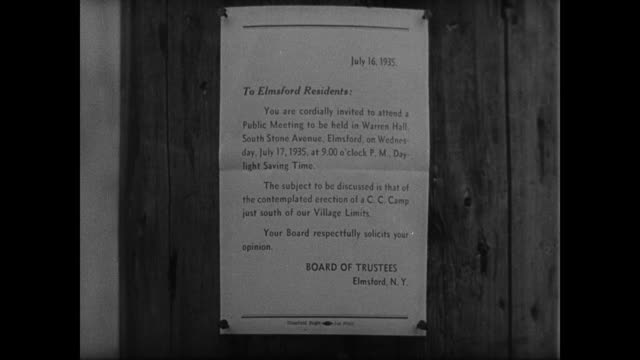 vidéos et rushes de notice inviting residents of elmsford new york to attend a public meeting about erection of ccc camp south of village - erection