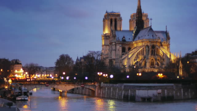 notre dame at night - notre dame de paris stock videos and b-roll footage