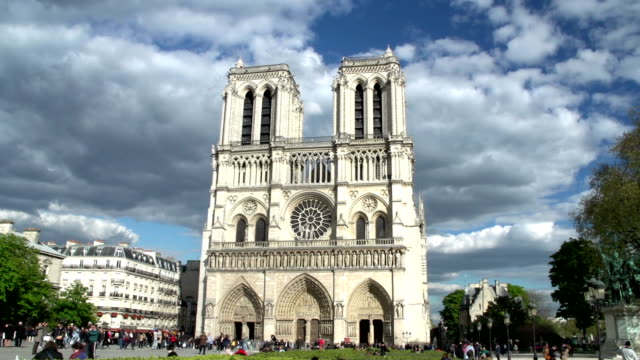 notre dame cathedral in paris, france (front) - notre dame de paris stock videos and b-roll footage