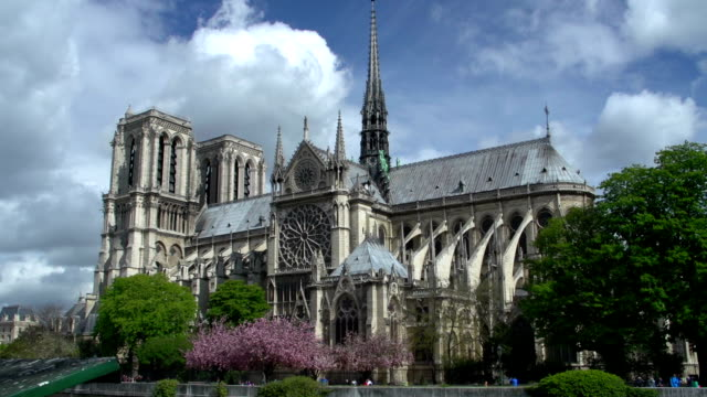 notre dame cathedral in paris, france (side) - notre dame de paris stock videos and b-roll footage