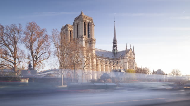notre dame cathedral in the city of paris. - notre dame de paris stock videos and b-roll footage
