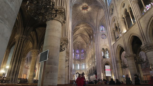 t/l ws notre dame cathedral interior / paris, ile de france, france - notre dame de paris stock videos & royalty-free footage
